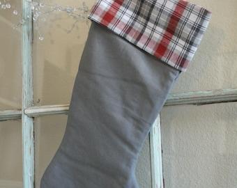 Gray Linen Stocking--Plaid Cuff #27