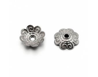 20 Flower bead caps hypoallergenic stainless steel 11mm beadcaps