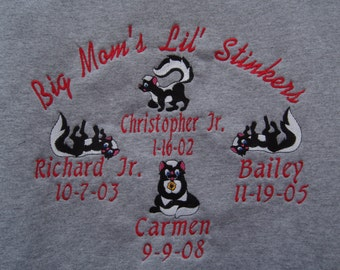 Moms Grandmoms embroidered personalized sweatshirt. Little stinkers with names and birthdates