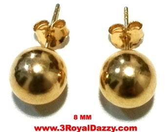14k Yellow gold layer on 925 Sterling Silver 8 mm Full Round Ball Stud Earrings