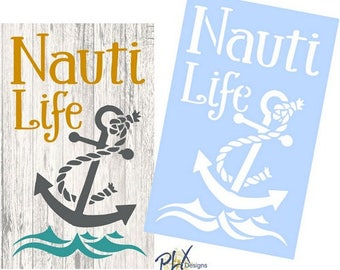NAUTI LIFE Nautical Beach Anchor Stencil For Sign Painting, Wood, Crafts, Canvas and More! Reusable Mylar!