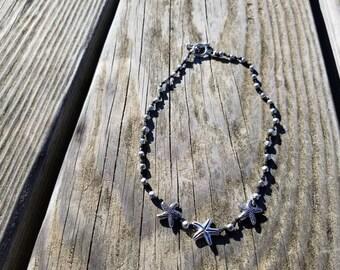 Hematite Starfish Handmade Necklace, Handmade Necklace, Starfish Necklace, Beach Necklace, Silver Necklace