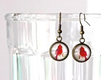 Cardinal earrings. Bird winter earrings. Gift for her. Womens gift. Whimsical red bird dangle earrings. Cute bird jewelry. Bird lover gift.
