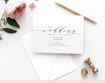 "Wedding Invitation Template | Printable wedding invitation | DIY invitations | ""Wedding"" | Edit in WORD or PAGES"