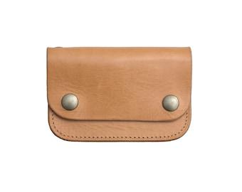 Mens Minimalist Wallet veg tan leather Personalized