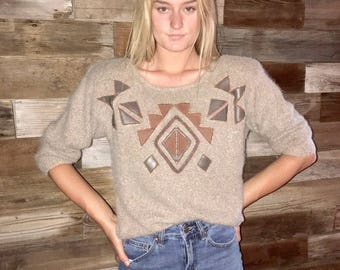 Vintage 90's leather and pearls EMBELLISHED ANGORA fuzzy sweater - M