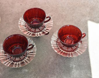 Old Cafe Cups and Saucers by Anchor Hocking.