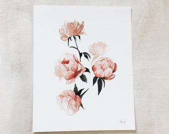 Peonies watercolor study // art print - flowers - wall art - kitchen - Mother's Day- floral - artwork - original painting - baby girl room