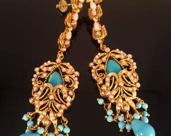 Turquoise gold Victorian Chandelier Earrings,Bridal Chandelier Earrings,Turkish Jewellery,Victorian Indian wedding jewelry,Royal ethnic