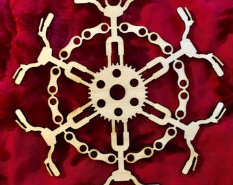 "Cycling Mountain Bike Laser Cut Wood ""Snowflake"" Ornament"