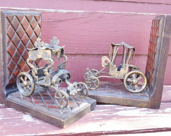 Horseless Buggy Bookends Set of 2 Vintage Book Ends