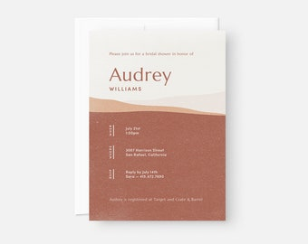 Desert Bridal Shower Invitation / Modern Bridal Shower Invite / Minimalist Invitation / Pink, Orange, Rust / Baby Shower, Birthday Party