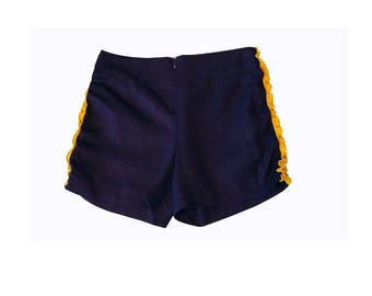 Short shorts with Ruffles in silk on the sides Navy Blue and yellow