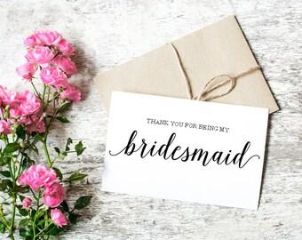 Bridesmaid Thank you Card / Thank You Card Bridal Party / Thank You For Being My Bridesmaid / Thank You For Everything Card Bridal Party