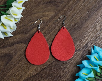 Genuine Leather Earrings Teardrop Red