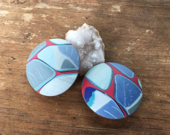 Magnet set polymer clay red and blue
