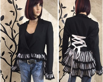 Tailcoat, Ringmaster jacket, Women's Dress coat, Unique jacket, Black lace jacket, Ringmaster coat