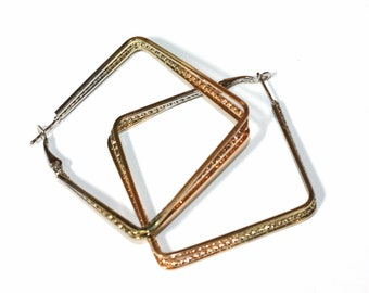 Square stacked hoops. Gold Square hoops. Silver square hoops. Rose gold square hoops. 2 inch square hoop earrings.