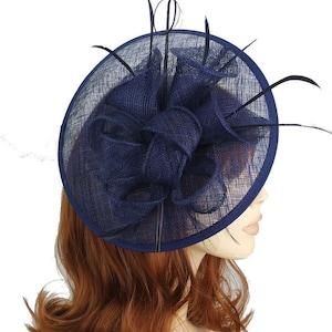 Elegant Navy Blue Colour Sinamay Circular Saucer Shaped Hair Fascinator Hatinator Headband