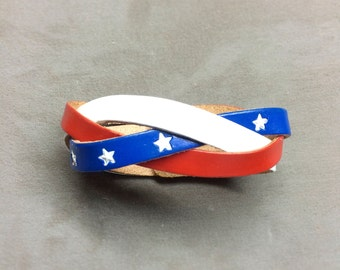 Leather Cuff Bracelet - hand tooled handmade Leather American Flag bracelet USA flag bracelet stars and stripes cuff gifts for her him