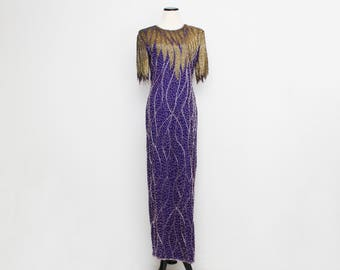 Purple and Gold Beaded Pageant Dress - Size Medium Vintage 1980s Evening Gown