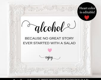 Alcohol Sign Printable - Wedding Drink Sign - Bar Wedding Sign- Signature Drink - Editable Text - Downloadable wedding #WDH101_35