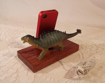 iPhone - iPod Dock -Charger and Sync Station - Oak -  Big Spiked Green Dino - Scary - One of a Kind - Dinosaur - FREE Shipping