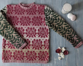 SOLD Jacquard hand-knit sweater Sketch in pink