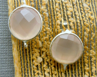 Pink Chalcedony Round Stud Earrings with Sterling Silver Bezels and Bails (S33B9-06)