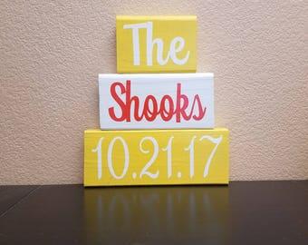 Established Date Sign - Family Name Sign - Established Date Wood Blocks - Wedding Gift - Personalized Wedding Gift - Last Name Sign