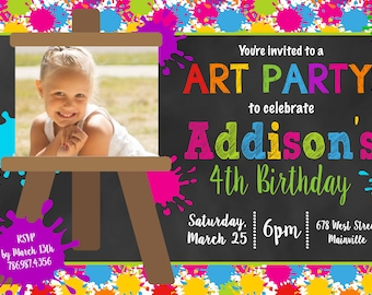 Art Party, Paint Party, Birthday Party Invitation - Digital or Printed, Free Shipping!