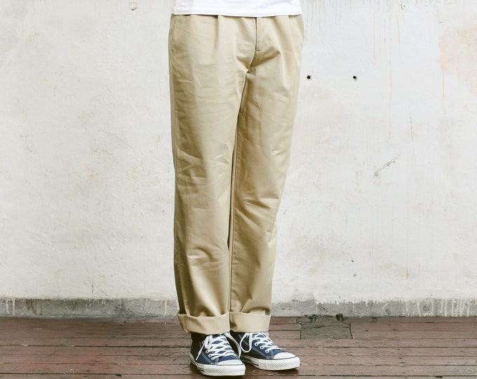 Beige Matinique Pants . Vintage 90s Beige Chino Pants Trousers Mens 90s Oldschool Pants 90s Nerd Trousers Dad Pants . size Small S