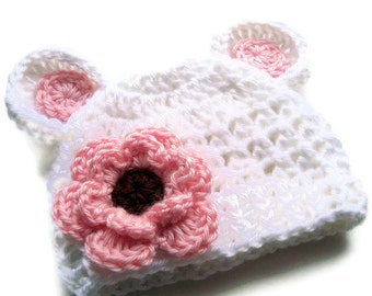 Crochet Baby Hat, Baby Girl Hat, Baby Girl, Crochet Hat, Infant Winter Hat, Baby Hat, White and Pink, Newborn Crochet Hat, MADE TO ORDER