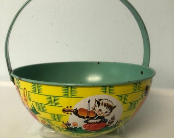"""Vintage Chein Tin Lithographed Nursery Rhymes Basket  1950's , Chein  Co. U.S.A. Size: 7.75"""""""