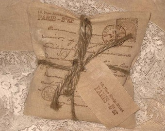 Vintage Inspired French Parcel Handmade Lavender Sachet Filled with French Lavender ECS