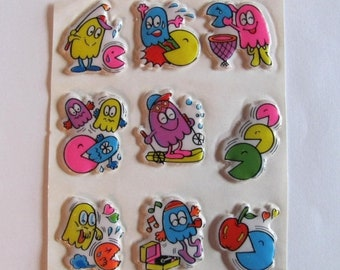 SALE Pac-Man Rare Vintage Puffy Sticker Sheet - Version 2 - 80's Video Game Cartoon Pacman Ghost Apple Collectable