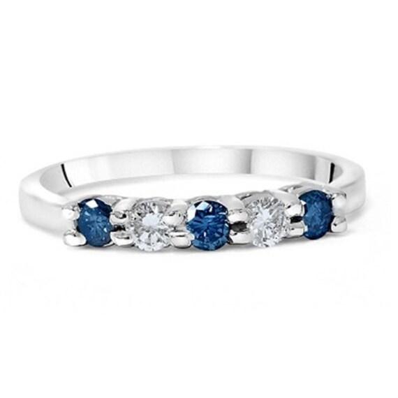 Blue White Diamond 85CT 5Stone Wedding Ring Womens Band 14