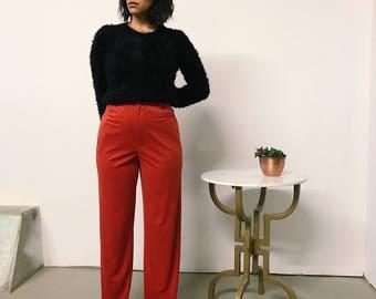 "Vintage 70s Burnt orange polyester high waist wide leg pants // waist 28"""