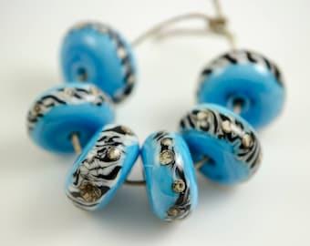 Turquoise Zebra -- Lampwork Glass Beads