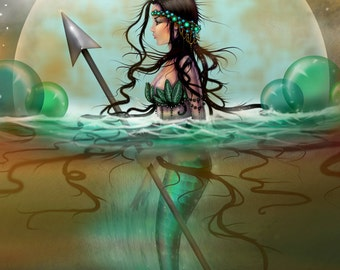 Mystic Sea - Mermaid Fantasy Art by Molly Harrison - Fine Art Giclee Print 11 x 15