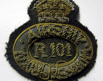 Royal Airship Works Officer Emroidered Cap or Hat Badge R101 or 100 Zeppelin Dirigible Aged