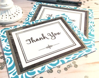 Thank You Cards Set of 2 - Silver Foil - Professional Thank You Card - Customer Thank You Cards - Note Cards - Stationary