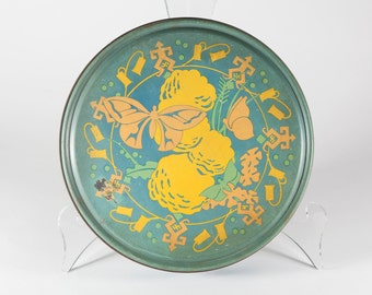 """FREE SHIPPING: Vintage Large Round Cookie Tin - 10"""" Blue Metal Tin with Butterflies - Shabby Chic Metal Container"""