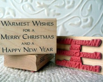 Warmest wishes Christmas verse rubber stamp from oldislandstamps
