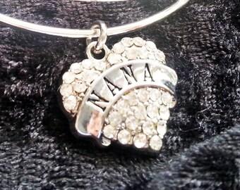 Nana bracelet, silver bangle bracelet, adjustable fit, Nana's gift,  free shipping and gift box