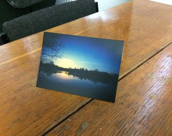 Charnwood Water winter sunset Loughborough blank greeting card (pack of 4)