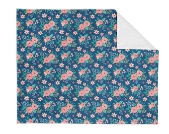 Crib Blanket Vintage Antique Floral - Baby Blanket - Minky Blanket - Floral Blanket - Floral Baby Blanket - Girl Blanket - Floral Bedding