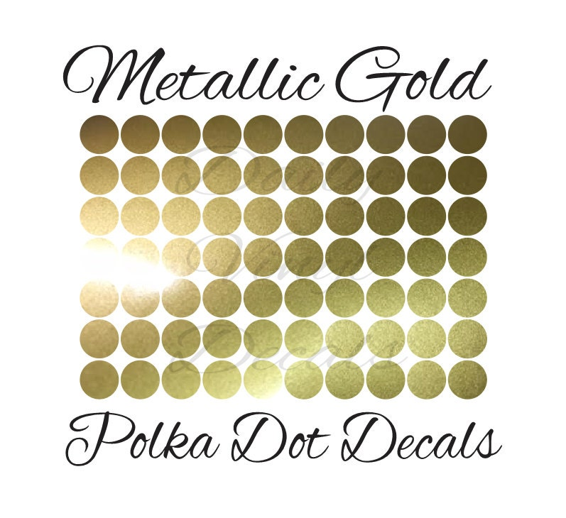 25 PACK Metallic Gold Polka Dot Decals *Choose Size & Color ...