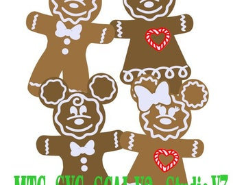 SVG Cut File Gingerbread Mouse Men and Women Holiday Gift Tag MTC SCAL Cameo Cutting Files