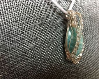 Amazonite, apatite, and silver pendant necklace